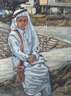 Evelyn Metzger Saudi Arabian Boy Oil On Panel