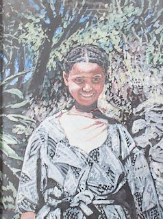 Evelyn Metzger African Child Portrait Oil on Panel