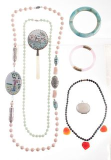 Asian Porcelain & Bead Jewelry, Mirror, & More