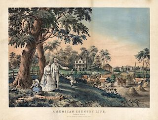 """American Country Life """"Summer"""" - Original Large Folio Currier & Ives Lithograph."""