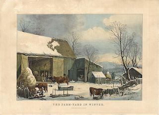 Farm-Yard Winter - Original Large Folio Currier & Ives Lithograph - After G. H. Durrie.