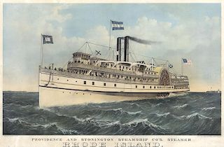 Steamship Rhode Island - Original  Large Folio Currier & Ives Lithograph  - Drawn by Parsons .