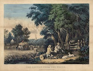 Return from the Woods - Original Medium Folio Currier & Ives Lithograph
