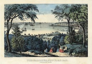 New York Bay - Original Small Folio Currier & Ives Lithograph