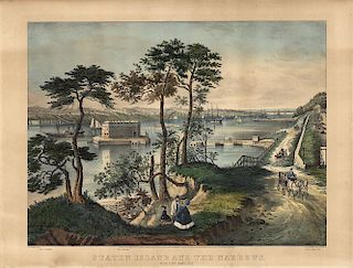 Staten Island - Original Folio size Currier & Ives Lithograph