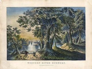 Western River Scenery - Original Medium Folio Currier & Ives Lithograph