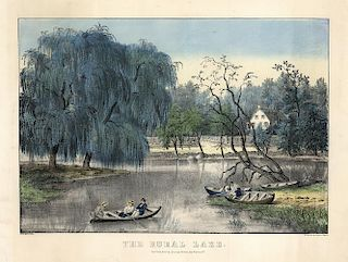 The Rural Lake - Original Currier & Ives Lithograph.