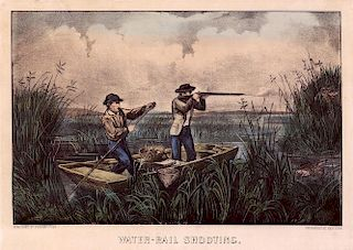 Water-Rail Shooting - Original Small Folio Currier & Ives Lithograph