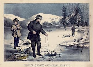 Winter Sports - Pickerel Fishing - Original Small Folio Currier & Ives Lithograph.
