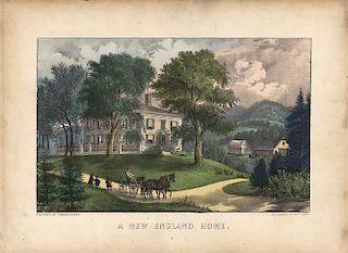 A New England Home - Original Currier & Ives Lithograph.