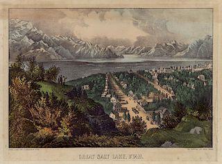 Great Salt Lake, Utah - Original Small Folio Currier & Ives Lithograph.