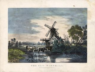 The Old Windmill - Original Currier & Ives Lithograph.