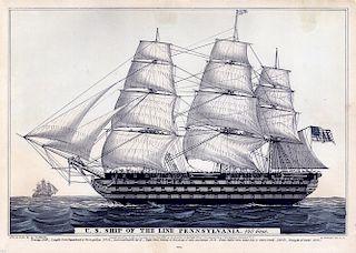 Pennsylvania.  140 Guns - Original Small Folio N. Currier Lithograph