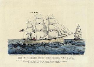 Miniature Ship - Original Small Folio Currier & Ives Lithograph