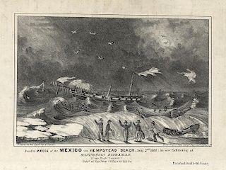 Dreadful Wreck of the Mexico - RARE - Original Small Folio N. Currier Lithograph