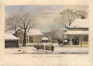 Home to Thanksgiving - Original Large Folio Currier & Ives Lithograph