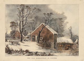 Old Homestead in Winter - Original Large Folio Currier & Ives Lithograph