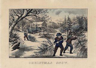 Christmas Snow. - Original Small Folio Currier & Ives Lithograph