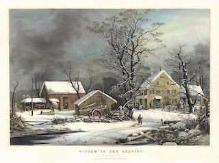A Cold Morning - Original Large Folio Currier & Ives Lithograph