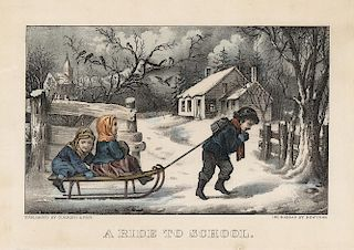 A Ride to School - Original Small Folio Currier & Ives Lithograph