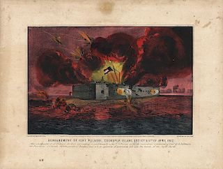 Bombardment of Fort Pulaski - Original Small Folio Currier & Ives Lithograph
