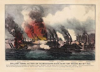 Brilliant Naval Victory - Original Small Folio Currier & Ives Lithograph