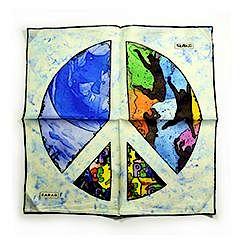 Sarar - CITYarts Pieces for Peace Silk Pocket Square - Peace Sign