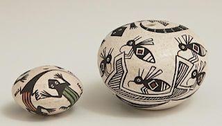 Two Miniature Native American Acoma Pottery Pots,