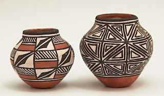 Two Miniature Native American Acoma Pottery Ollas,