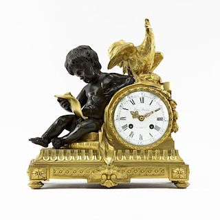 Gilt and Patinated Bronze Louis XVI Style Mantel Clock by Henry Dasson