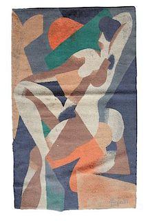 Vintage Modern Rug After Rene Magritte