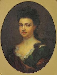 19th C. Oil on Board. Portrait of a Lady.