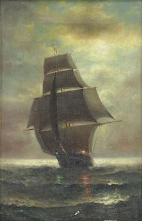 BILLING, Frederick W. Oil on Canvas. Ship at Sea.