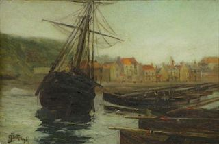 GUTHRIE, J. Oil on Canvas. Ship in Harbor.