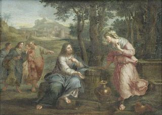 Old Master Oil on Panel. Rebecca at the Well.