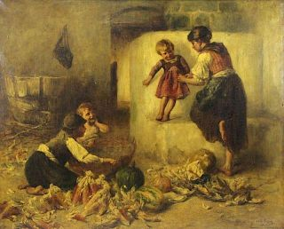 PESKE, Geza. Oil on Canvas. Mother with Children