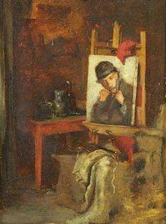 DUVENECK, Frank. Oil on Panel. Artist's Studio.