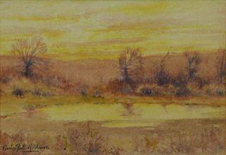 ADAMS, Charles P. Watercolor. Sunset Landscape.