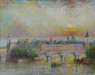 """RAMPASO, Luciano. Oil on Canvas. """"Vue de Paris""""."""