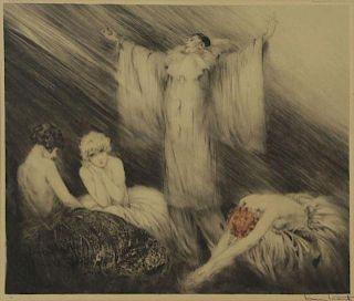 "ICART, Louis. Color Etching ""Poem"" 1928."