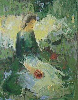 GRUNSTETTER. Impressionist Style Oil on Canvas.