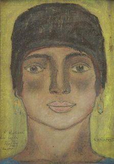 WALKOWITZ, Abraham. Pastel on Paper. Portrait of