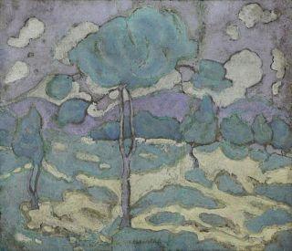 PAPALOUKAS,  Spyros. Oil on Board. Landscape.