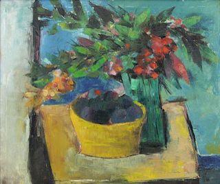 Indistinctly Signed Modernist Oil on Canvas Still