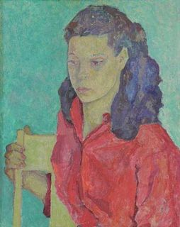 """FONER, Liza. Oil on Canvas """"Young Girl""""."""