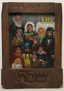 "ROTHBORT, Samuel. Oil on Board ""Sabbath""."