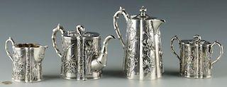 Chinese Export Silver Tea Set, 5 pcs, Wang Hing;