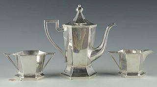 Chinese Export Silver Tea Set, 3 pc, Luen Wo