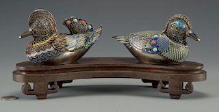 Pr. Asian Cloisonne Enamel Ducks