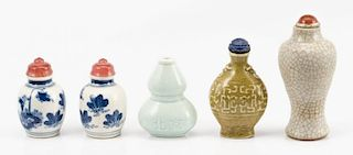 Collection of 5 Ceramic Snuff Bottles